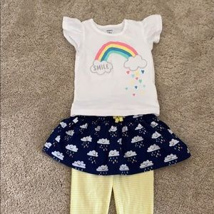 Flutter tee and skirt with leggings set